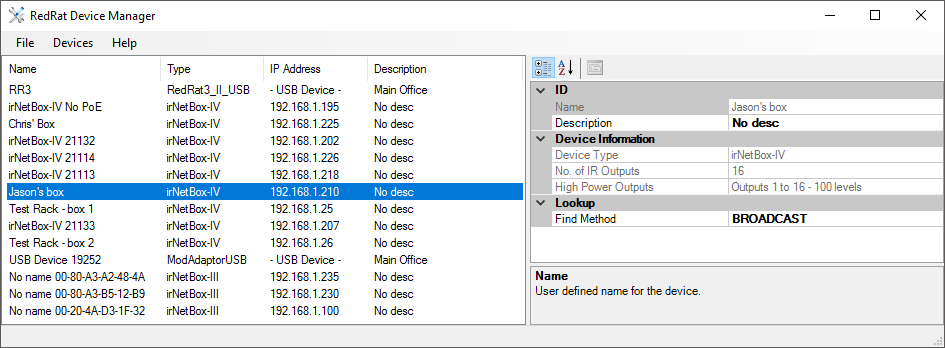 Device Manager main screen